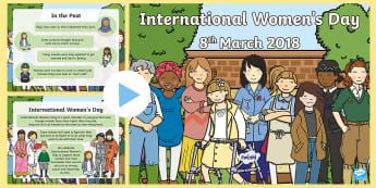 CfE First Level International Women's Day PowerPoint - Rights, equality, parity, press, Progress, History,,Scottish