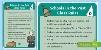 KS1 Schools in the Past Rules Display Posters - Old, Victorian, Teaching, History, Now and Then