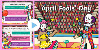 April Fools' Day PowerPoint - April Fools' Day, April, Fool, Joke, Prank, Hoax, Laugh, Trick, Midday, Assembly, KS1, KS2, Key Sta