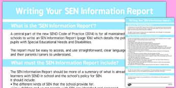 Writing Your SEN Information Report - template, structure, information, senco, classroom organisation, data, slt, smt, senior, adult, parent, dialogue, record, ks1, ks2