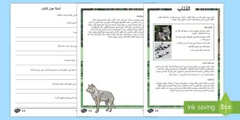 وراق عمل متمايزة عن الذئاب للفهم القرائ - قراءة، متمايز، عربي، الذئاب، أوراق عمل، استدلال، استن