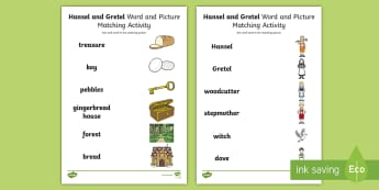 Hansel and Gretel Word and Picture Match - word, picture, match