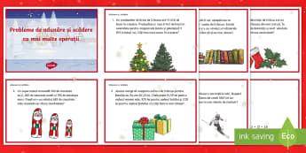 Probleme de adunare și scădere cu mai multe operații Cartonașe - activități integrate, probleme cu mai mulți pași, probleme ilustrate, activități de Crăciun,R