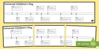 KS2 Universal Children's Day Timeline Activity Sheet