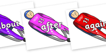 KS1 Keywords on Luge - KS1, CLL, Communication language and literacy, Display, Key words, high frequency words, foundation stage literacy, DfES Letters and Sounds, Letters and Sounds, spelling