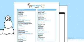 Polar Regions Book List - EYFS, Early years, Arctic, Antarctic, cols, snow, North Pole, South Pole