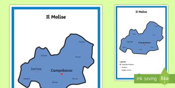 Scuola Primaria: Il Molise Cartina Politica - italia, regioni, regionale, geografia, mappa, italiano, italian, materiale, scolastico