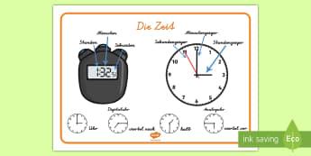 Wichtige Vokabeln zum Thema Zeit Wortschatz: Querformat - Zeit, Zweitwortschatz, Vokabeln, Wortschatz, Wörter, Stopuhr, Digitaluhr, Analoguhr, Sekunde, Stund
