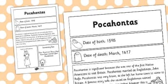 Pocahontas Significant Individual Fact Sheet - fact sheet, facts