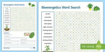 Bioenergetics Word Search - aerobic, anaerobic, mitochondria, respiration, chlorophyll
