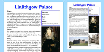 Linlithgow Palace Information Sheet - First Level, Social Studies, Scottish history, Scottish Castles