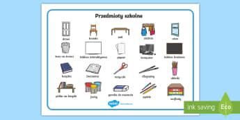Plansza ze słownictwem Przedmioty szkolne - meble, artykuły, szkolne, szkoła, klasa, klasowe, sala, lekcyjna, nazwy, długopis, ołówek, zesz