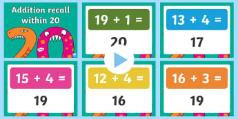 Addition Recall Ten to 20 PowerPoint - addition, mental maths, number bonds, adding within 20, quick recall.