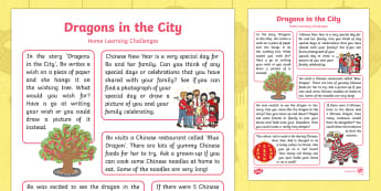 Dragons in the City Home Learning Challenges Reception FS2 - twinkl originals, fiction, chinese new year, Early Years, Foundation, Homework, home school links, h