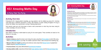 KS1 Amazing Maths Day Activity Overview - world maths day, Fairy Tale, whole day, tea party, tea party maths activities, nspcc number day, number day