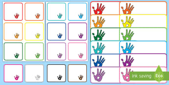 Handprint Themed Labels - coat pegs, peg labels, drawer labels, tray