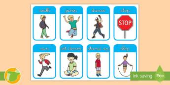 Tarjetas de trivial: Instrucciones de educación física - Inglés - movement, ejercicio, lengua extranjera, inglés, english, ,Spanish-translation