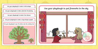 Dragons in the City Playdough Mats - chinese new year, cp, continuous provision, playdoh, modelling area, creative area, tabletop mats