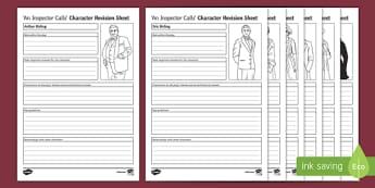 An Inspector Calls Characters Activity Sheet Pack, worksheet