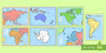 Pecyn Posteri Cyfandiroedd Y Byd - cyfandir, daeryddiaeth, ddaear, map, continents, world, Byd, cyfandiroedd