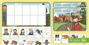 Farm Editable Self-Registration Ten-Frame Resource Pack -  Farm, Farm Animals, farmer, Ten Frame, Maths Mastery, Counting, Number, Calculating,Self-Registrati