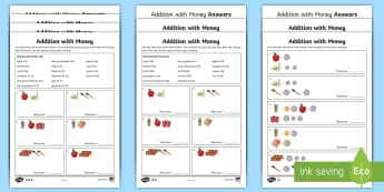 Addition with Money Differentiated Activity Sheets - addition, add, money, activity, activity sheets