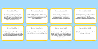 German Primary School Fact Cards