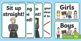 KS1 Schools in the Past Signs Display Posters - Old, Victorian, Teaching, History, Now and Then