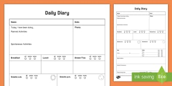 Daily Care Sheet for Preschooler with Photo Record - Daily sheet, daily diary, daily record, care sheet, daily communication, daily sheet, baby diary