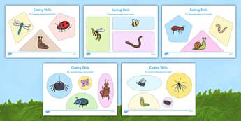 Minibeast Themed Cutting Skills Worksheets - EYFS, fine motor, scissor, PD, Physical Development