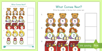 What Comes Next? Toy Themed Worksheet / Activity Sheet - Number Skills, Counting Skills, Number Order,  Rote Counting, Toys and Games Unit, worksheet,