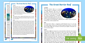 Great Barrier Reef Upper Primary Fact File - Guided Reading, Comprehension, australian landmark, Australian Oceans, australian geography,Australi