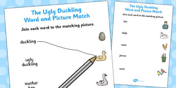 Ugly Duckling Word and Picture Match - word, picture, match