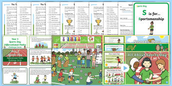 KS1 Sports Day Themed Activities and Resource Pack - Year 1, Year 2, P.E., Field, Athletics