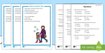 KS1 What Could It Be? Differentiated Activity Sheet - reading comprehension, winter, seasons, weather, poetry, worksheet