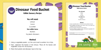 Dinosaurs Food Bucket Edible Sensory Recipe - Harry and the Bucketful of Dinosaurs, Ian Whybrow, babies, baby, food play, filling and emptying