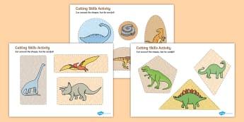 Dinosaur Themed Cutting Skills Worksheet / Activity Sheets - cut, fine motor skills