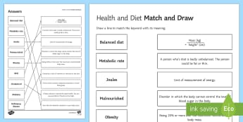 Health and Diet Match and Draw - Match and Draw, gcse, biology, health, diet, nutrition, metabolism, lifestyle, obese, obesity, diabe, starter activity