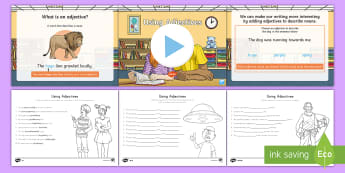 Using Adjectives Lesson Pack - editing, revising, adding details, Writing Process, word work, description