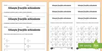 Găsește fracțiile echivalente - Pachet cu fișe de lucru diferențiate - matematică, fracții, fracții echivalente, Romanian