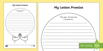 My Lenten Promise Activity Sheet - lent, easter, giving up for lent, worksheet