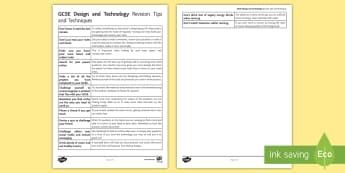 Design and Technology Revision Tips and Techniques Guide  - resistant materials, graphic, products, product design, textiles, food technology