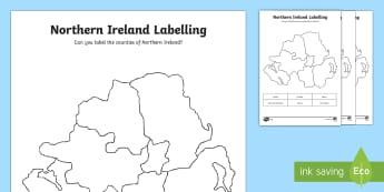 Northern Ireland Labelling Activity Sheet - Northern Ireland UK Lesson Teaching Pack - united kingdom, UK, teeach, Irland, fewer, derry, workshe