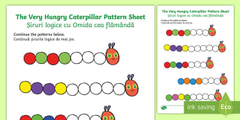 Colour Sequences Activity Sheet - English/Romanian - Colour Sequences Worksheet to Support Teaching on The Very Hungry Caterpillar - numbers, worksheet,