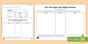 Sort the Input and Output Devices Activity Sheet - worksheet, computing, diagram, hardware, technology, computer, machine, ipad