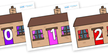 Numbers 0-50 on Houses - 0-50, foundation stage numeracy, Number recognition, Number flashcards, counting, number frieze, Display numbers, number posters