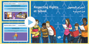 Respecting Rights at School PowerPoint Arabic/English  - respecting rights, school, respect, rights, school rights, EAl Arabic