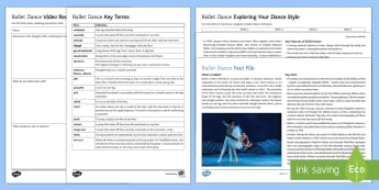 Ballet Dance Activity Pack - choreography, dance styles, dance appreciation, dance in the UK