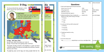 D-Day Differentiated Reading Comprehension Activity English/Italian - KS1 & KS2 D Day UK REQUESTS (6.6.17), d day, ks1 d day, D-Day, D Day, world war 2, WW2, WWII, World