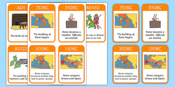 Roman Empire Timeline Cards - Romans, Rome, Roman Empire, timeline, timeline cards, flashcards, cards, colosseum, pantheon, Julius Caesar, emperor, gladiator, amphitheatre